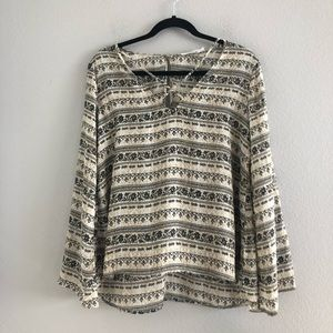 Lush Long Sleeve Printed Bohemian Top Size S